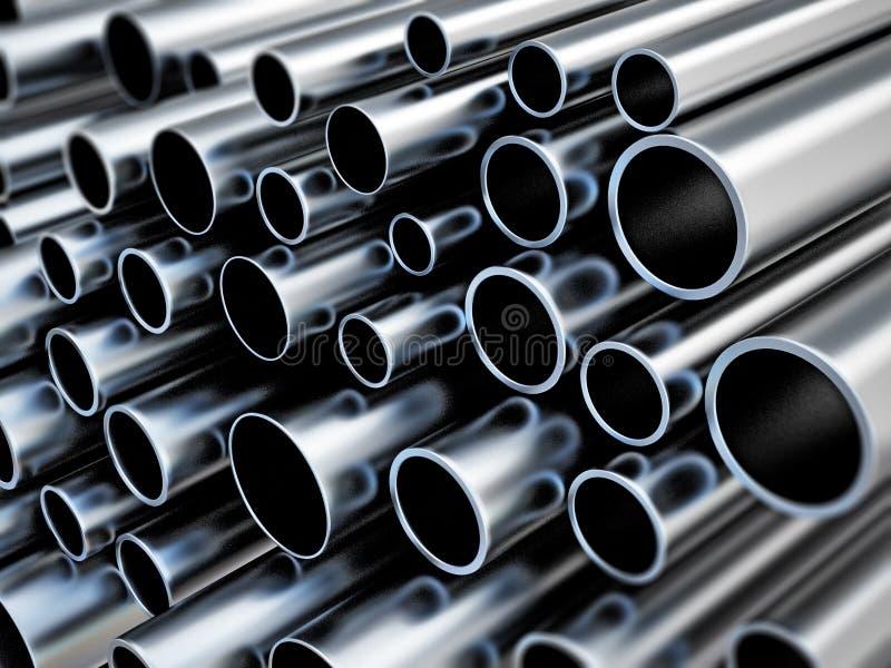 Grote groep staalbuizen 3D Illustratie stock illustratie