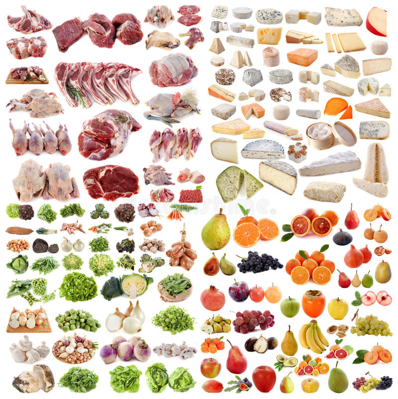Grote groep voedsel stock afbeeldingen