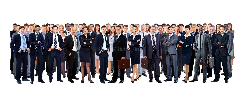 Grote groeps mensen volledige lengte stock foto