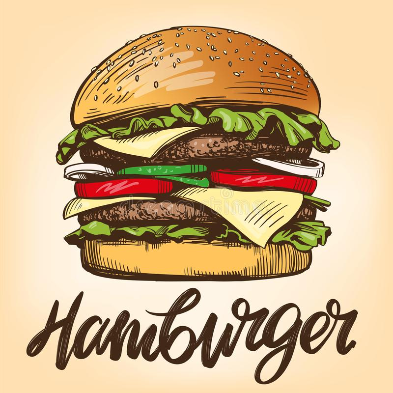 Grote hamburger, de schets retro stijl van de hamburgerhand getrokken vectorillustratie vector illustratie