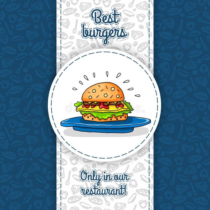 Grote hamburger met kaas, saus die, twee burgers, sla, op grote blauwe plaat liggen Het vectorwerk voor vliegers, menu's, verpakk royalty-vrije illustratie