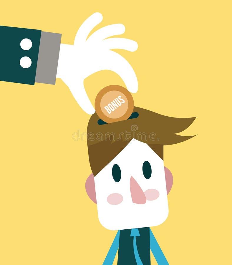 Grote hand die bonus geven aan kleine zakenman stock illustratie