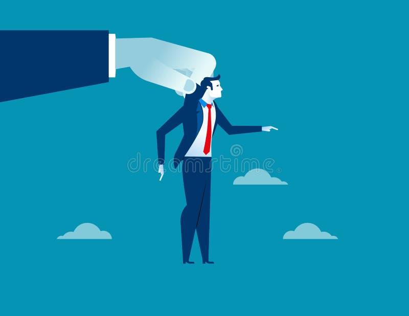 Grote hand die zakenman voor controle gebruiken royalty-vrije illustratie
