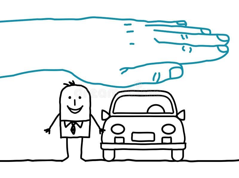 Grote hand en beeldverhaalkarakters - autoverzekering royalty-vrije illustratie