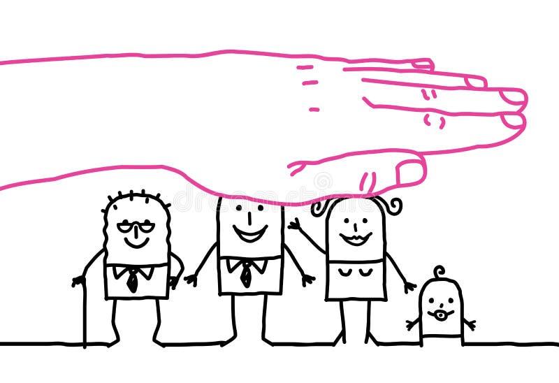 Grote hand en beeldverhaalkarakters - levensverzekering royalty-vrije illustratie