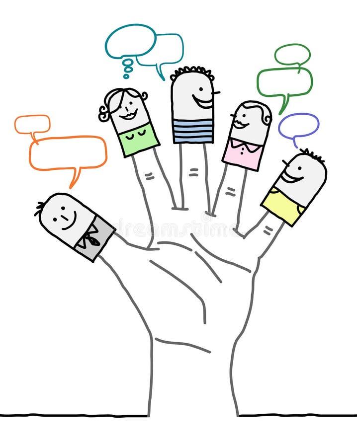 Grote hand en beeldverhaalkarakters - sociaal netwerk royalty-vrije illustratie