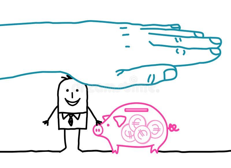 Grote hand en beeldverhaalzakenman - bankverzekering stock illustratie