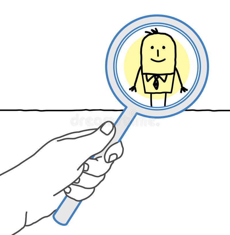 Grote hand en beeldverhaalzakenman - het controleren en het overdrijven vector illustratie