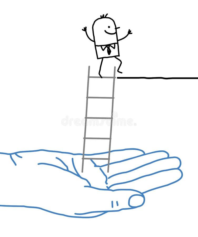 Grote hand en beeldverhaalzakenman - hulp en ladder vector illustratie