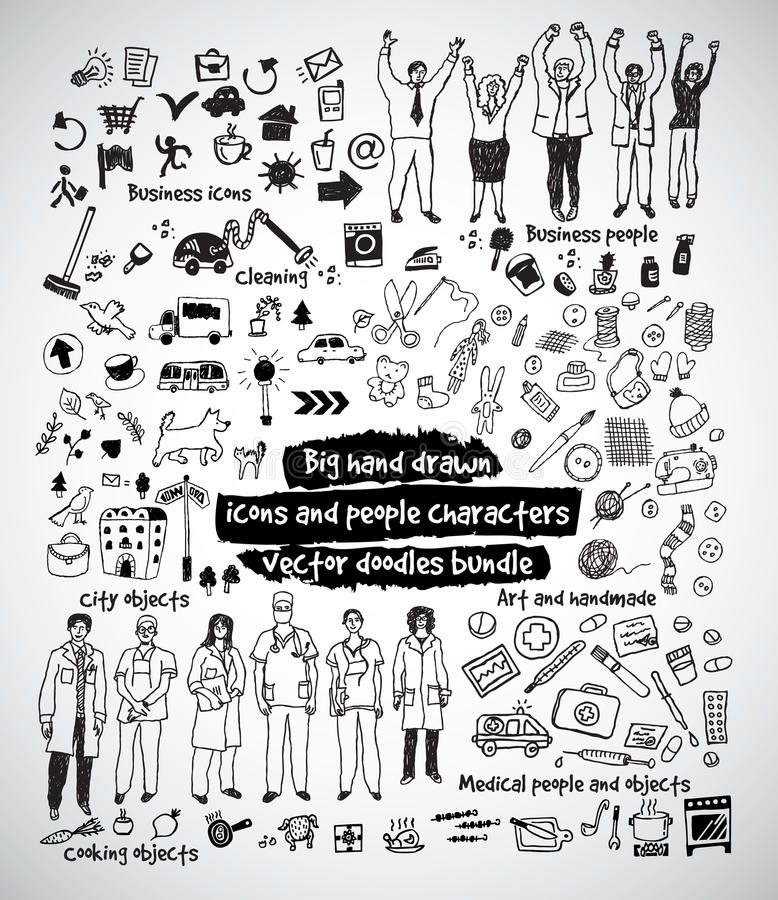 Grote hand getrokken pictogrammen en mensenkrabbelsbundel royalty-vrije illustratie