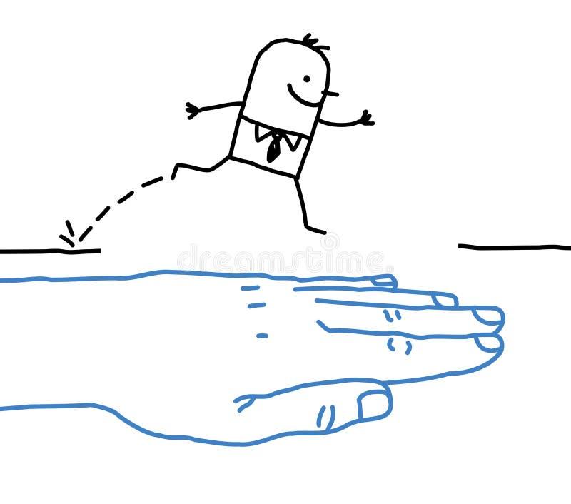Grote hand met beeldverhaalkarakter - hulp vector illustratie