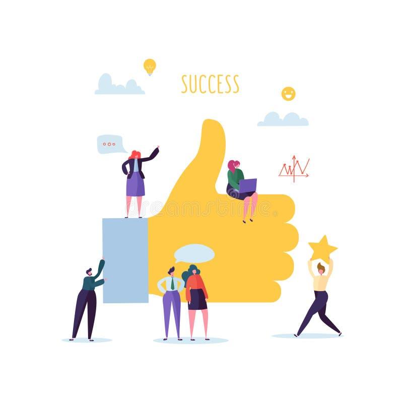 Grote Hand met Duim omhoog en Werkende Vlakke Mensenkarakters Team Work Business Success Concept royalty-vrije illustratie