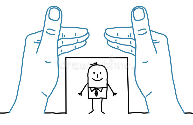 Grote handen en beeldverhaalzakenman die - ontwerpen stock illustratie