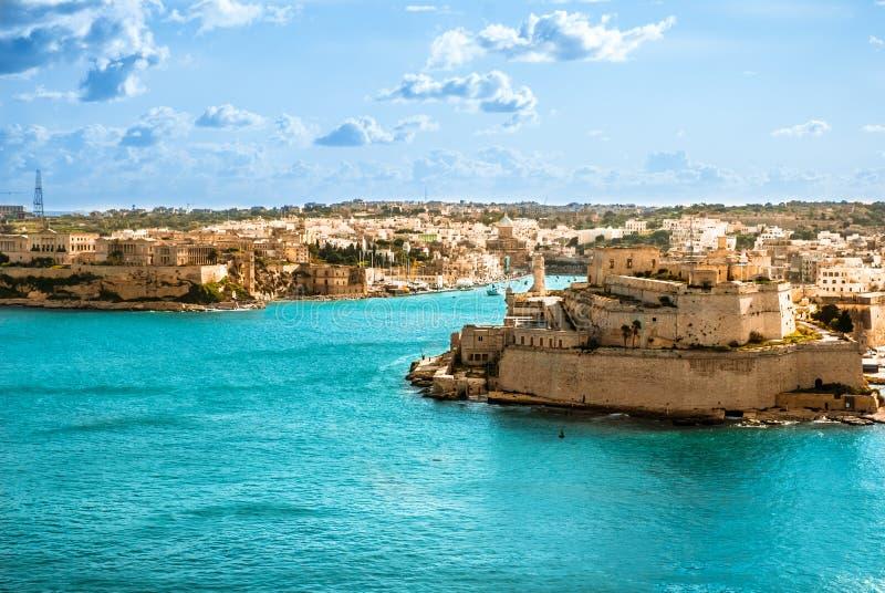 Grote Haven, Valletta, hoofdstad van Malta stock afbeeldingen