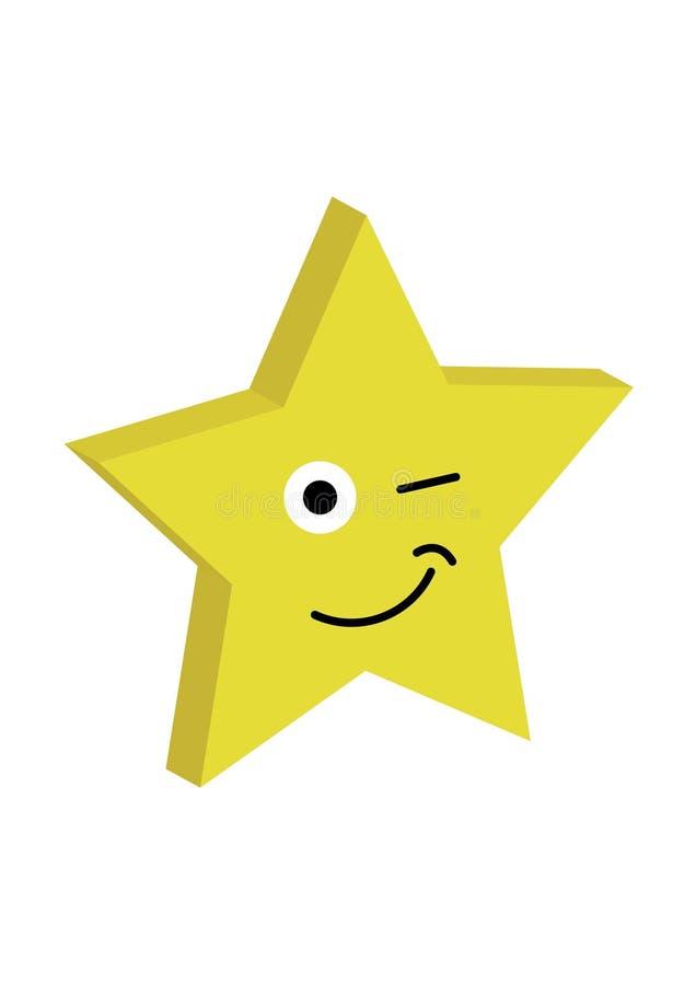 Grote heldere het knipogen ster met glimlach grappige vectorillustratie stock illustratie