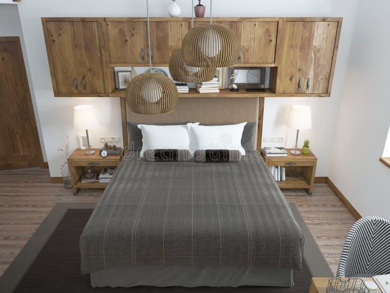 Grote heldere slaapkamer in de zolder stock foto