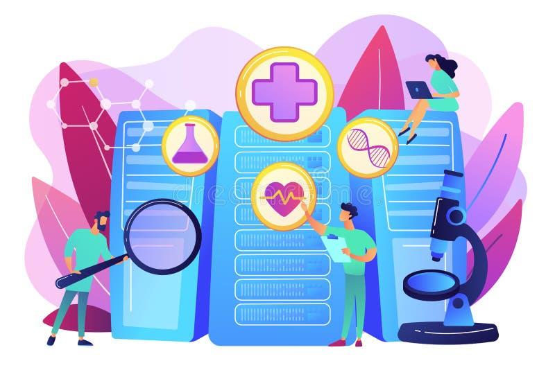 Grote het concepten vectorillustratie van de gegevensgezondheidszorg stock illustratie