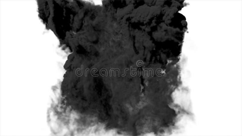 Grote het effect van de rookexplosie zwarte achtergrond, Realistische explosiesboom, Realistische vurige explosie over een zwarte stock afbeeldingen