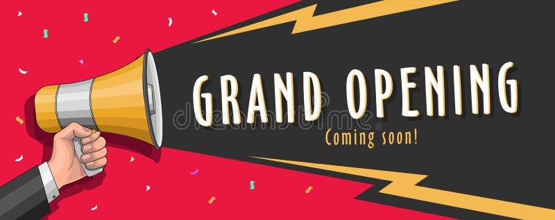 Grote het openen banner met megafoonillusraion en typografie stock illustratie