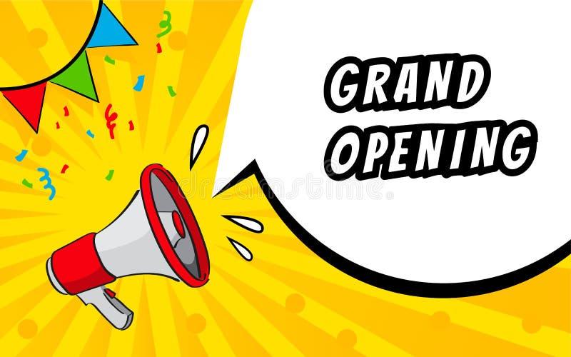 Grote het openen banner, vlieger Marketing of banner achtergrondmalplaatje met megafoon en toespraakbol stock illustratie