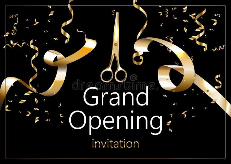 Grote het openen fonkelende banner Tekstsamenstelling met gouden plonsen en linten Elegante stijl vector illustratie