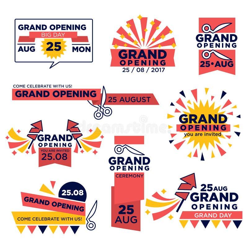 Grote het openen gebeurtenis vectordiepictogrammen voor winkel of festival worden geplaatst royalty-vrije illustratie