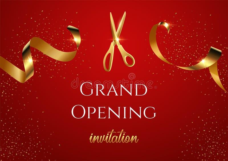 Grote het openen uitnodigings rode vectorbanner Glanzende schaar die gouden lint snijden stock illustratie