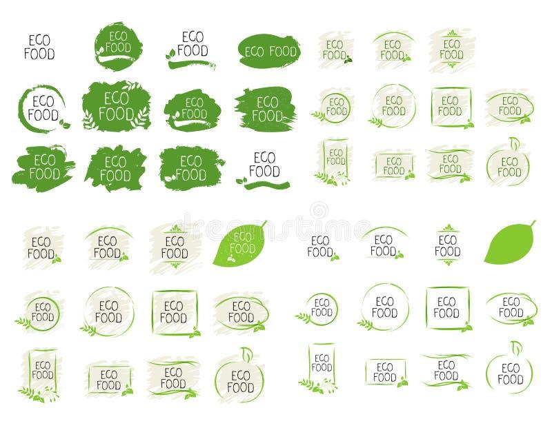 Grote het voedseletiketten en hoogte van inzamelingseco - de kentekens van het kwaliteitsproduct Bio gezonde organisch, 100 bio e vector illustratie