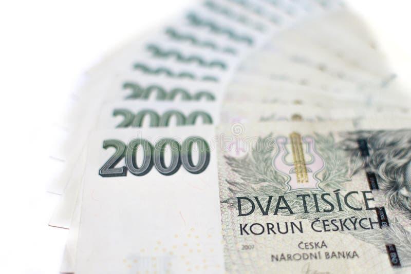 Grote hoeveelheid geld in Tsjechische kronen royalty-vrije stock foto's