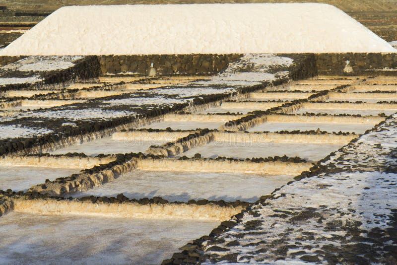 Grote hoop van zout op een lavagebied stock foto