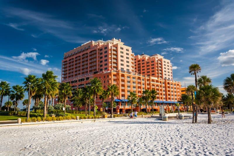 Grote hotel en palmen op het strand in Clearwater-Strand, Flo stock afbeeldingen