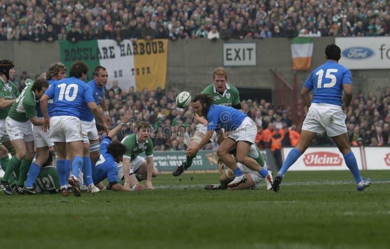 Grote houten hamer, Ierland V Italië, het Rugby van 6 Naties royalty-vrije stock foto's