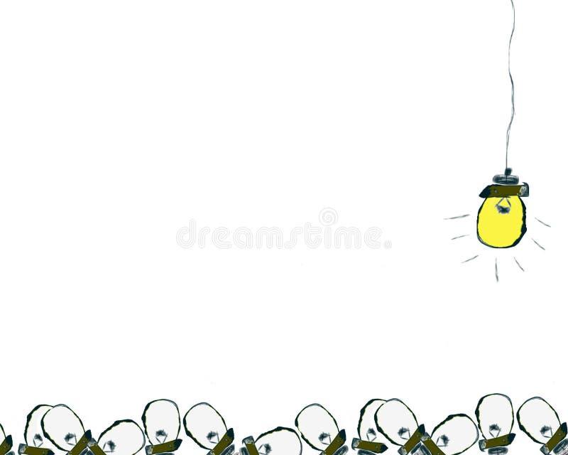 Grote Ideelichten omhoog onder alle andere ideeën vector illustratie
