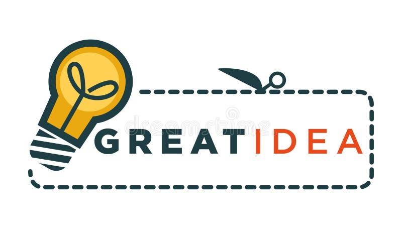 Grote ideepromo logotype met gloeilamp en teken stock illustratie