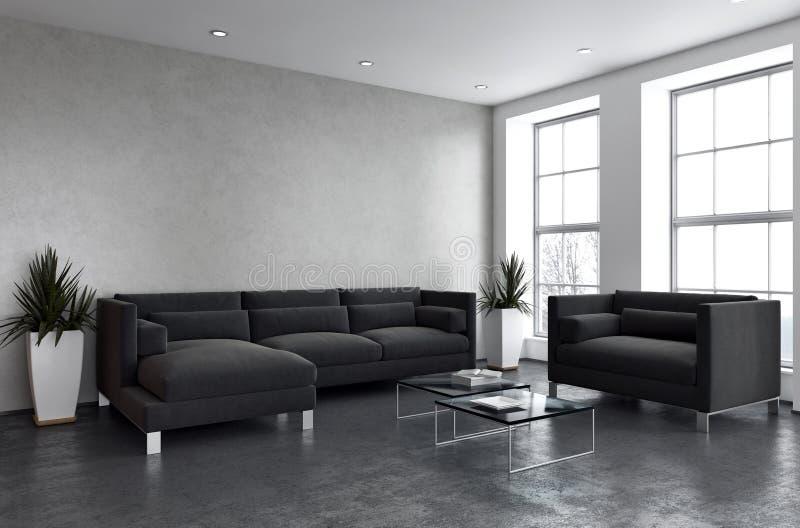 Grote illus van de de flatwoonkamer van het luxe moderne heldere binnenland vector illustratie