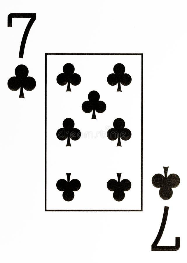 Grote indexspeelkaart 7 van clubs royalty-vrije illustratie