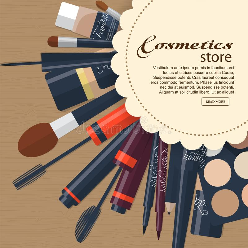 Grote inzameling van de schoonheidsmiddelen van vrouwen met ruimte voor uw reclame royalty-vrije illustratie