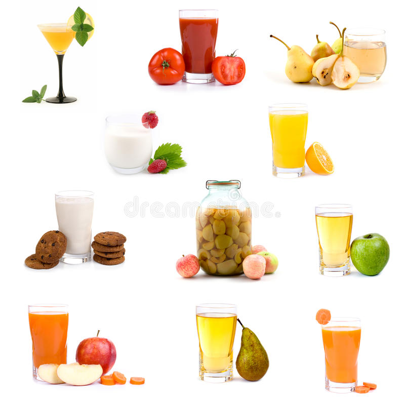 Grote inzameling van diverse gezonde dranken stock foto's