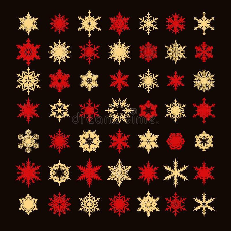 Grote inzameling van elegant gouden en rood die sneeuwvlokkensilhouet op zwarte achtergrond wordt geïsoleerd Reeks elementen voor royalty-vrije illustratie