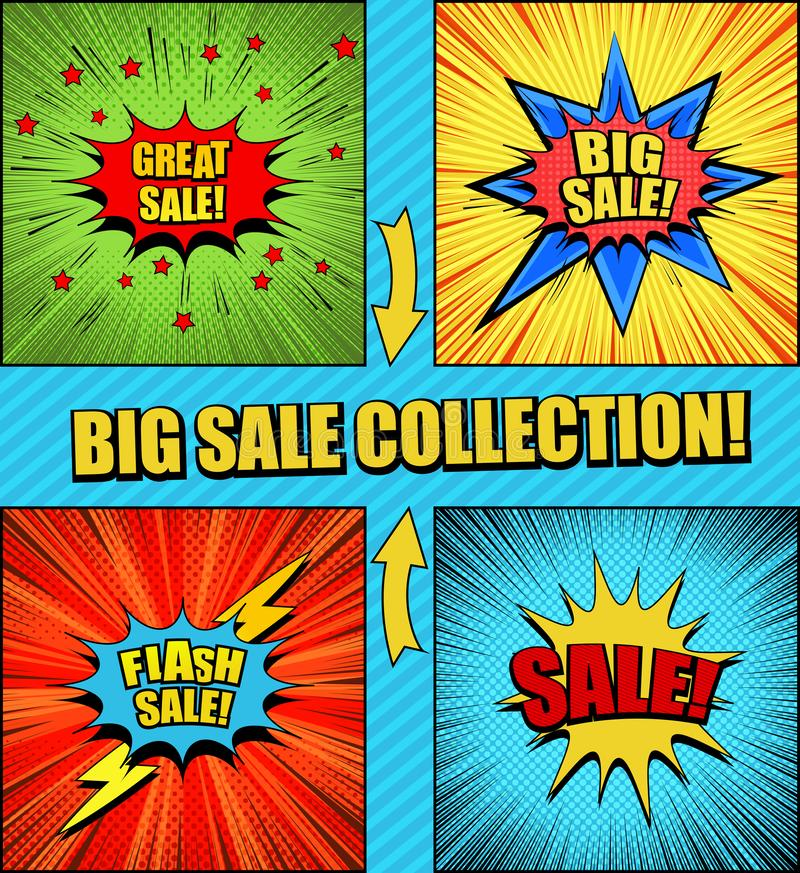 Grote inzameling van grappige verkoopachtergronden vector illustratie