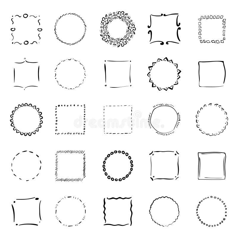 Grote inzameling van handdrawn grenzen Handdrawn krabbelkaders vector illustratie