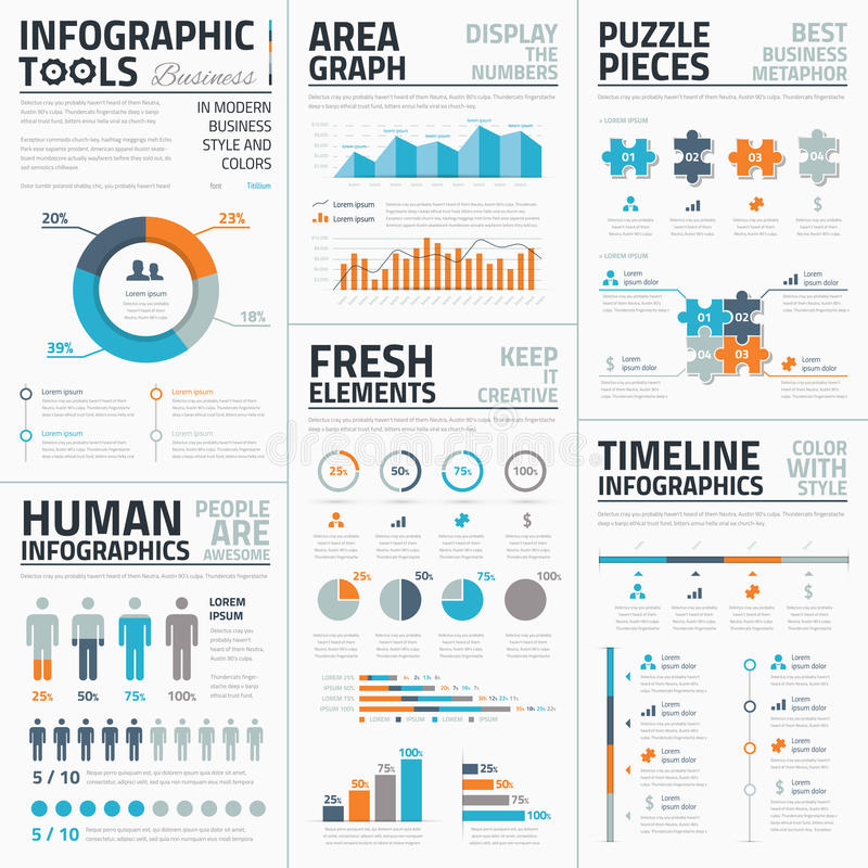 Grote inzameling van infographic vectormalplaatjes royalty-vrije illustratie