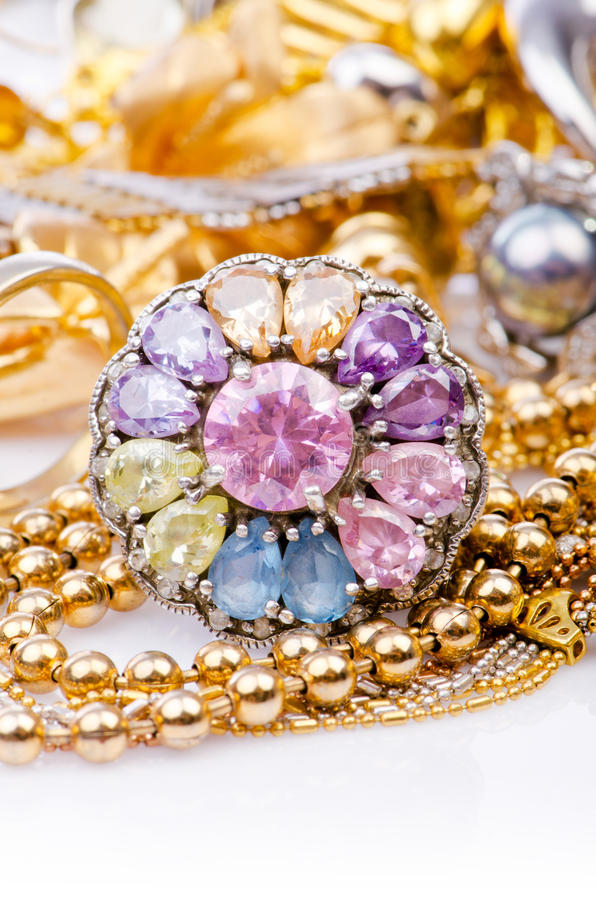 Grote inzameling van juwelen stock foto's