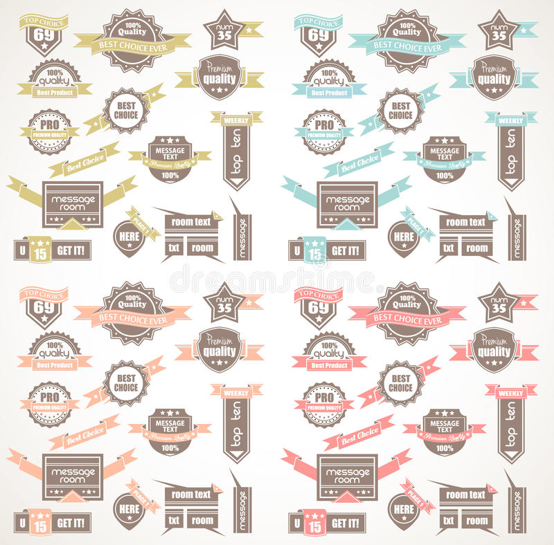 Grote Inzameling van Kwaliteitslabels met 4 kleurenversie royalty-vrije illustratie