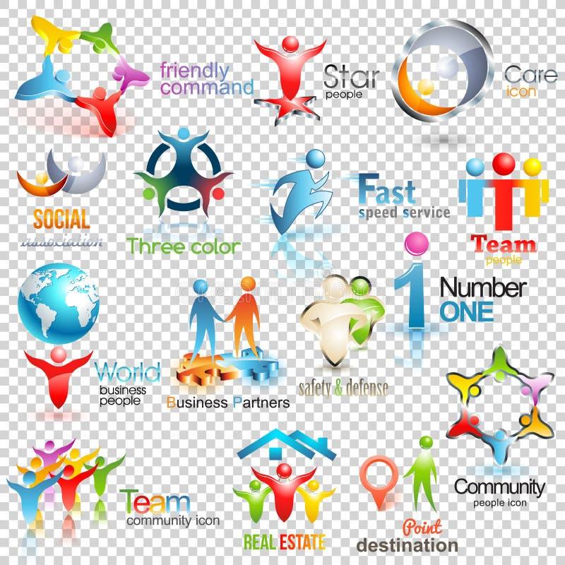 Grote inzameling van mensen vectoremblemen Bedrijfs Sociale Collectieve Identiteit De menselijke illustratie van het pictogrammen stock illustratie