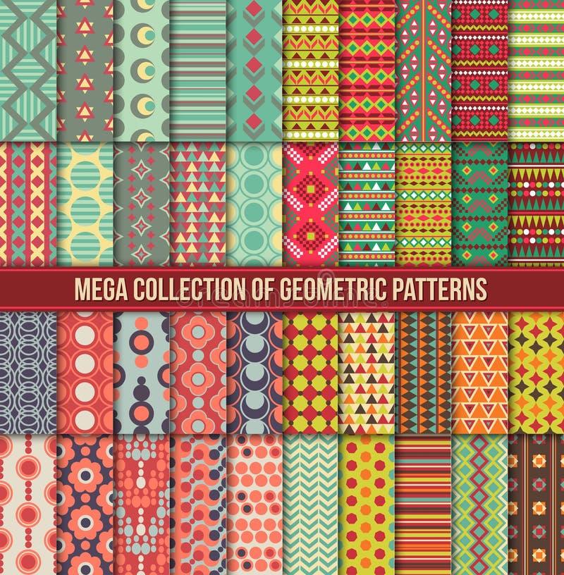 Grote inzameling van naadloze kleurrijke retro patronen stock foto's