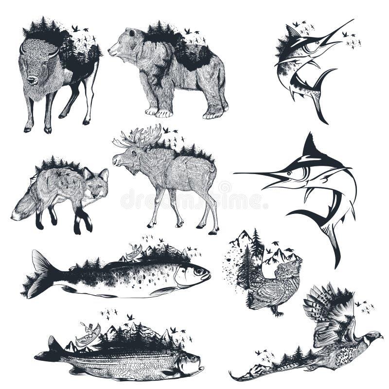 Grote inzameling van vector artistieke hand getrokken die dieren door bos in uitstekende stijl worden verfraaid stock illustratie