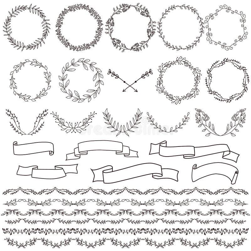 Grote inzameling van vectorhand getrokken decoratieelement stock illustratie