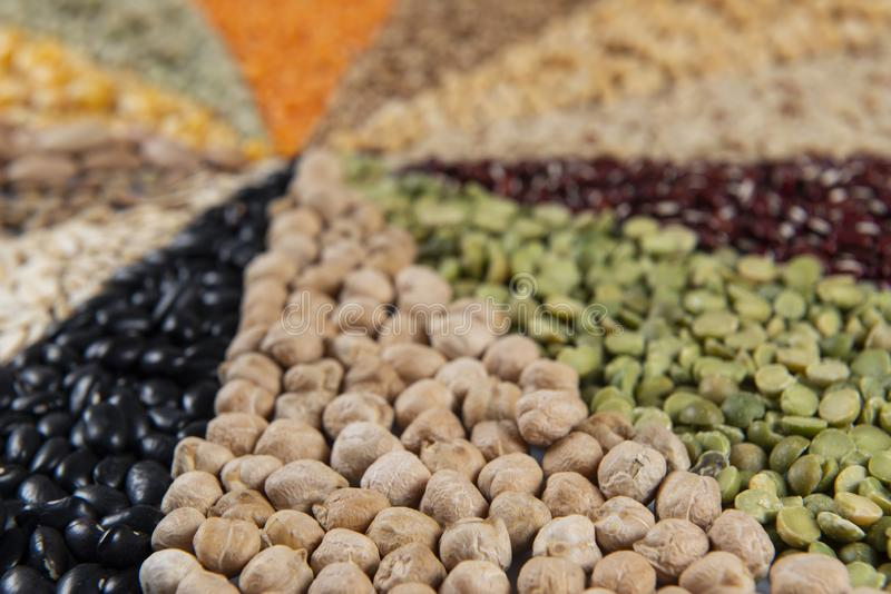 Grote inzameling van verschillende graangewassen en eetbare zaden royalty-vrije stock foto's