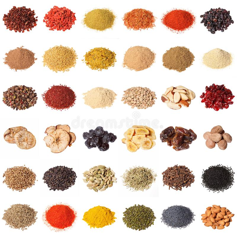 Grote inzameling van verschillende kruiden, kruiden, noten, droge vruchten, stock fotografie